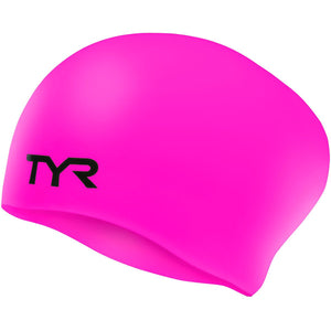 TYR FL. PINK WRINKLE FREE JR LONG HAIR SILICONE CAP