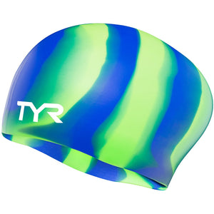 TYR GREEN/BLUE/MULTI SILICONE LONG HAIR CAP