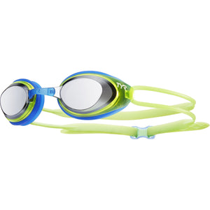 TYR SILVER/FL YEL/BLUE BLACKHAWK RACING JR MIRRORED GOGGLE