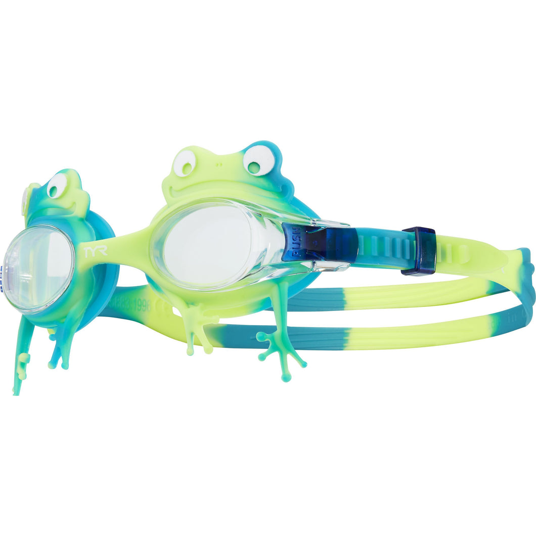 TYR CLEAR/GREEN/YELLOW KIDS SWIMPLE FROG GOGGLE