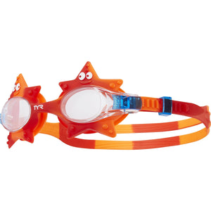 TYR CLEAR/ORANGE/RED KIDS SWIMPLE STARFISH GOGGLE