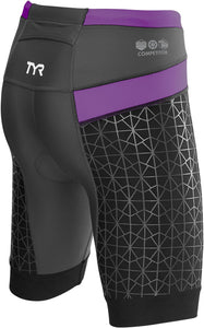 "TYR WOMEN'S BLACK/PURPLE COMPETITOR 8"" TRI SHORT"