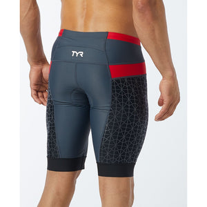 "TYR MEN'S GREY/RED COMPETITOR 9"" TRI SHORT"