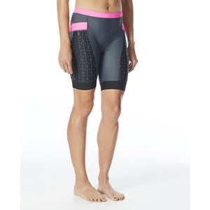 "TYR WOMEN'S GREY/PINK COMPETITOR 6"" TRI SHORT"