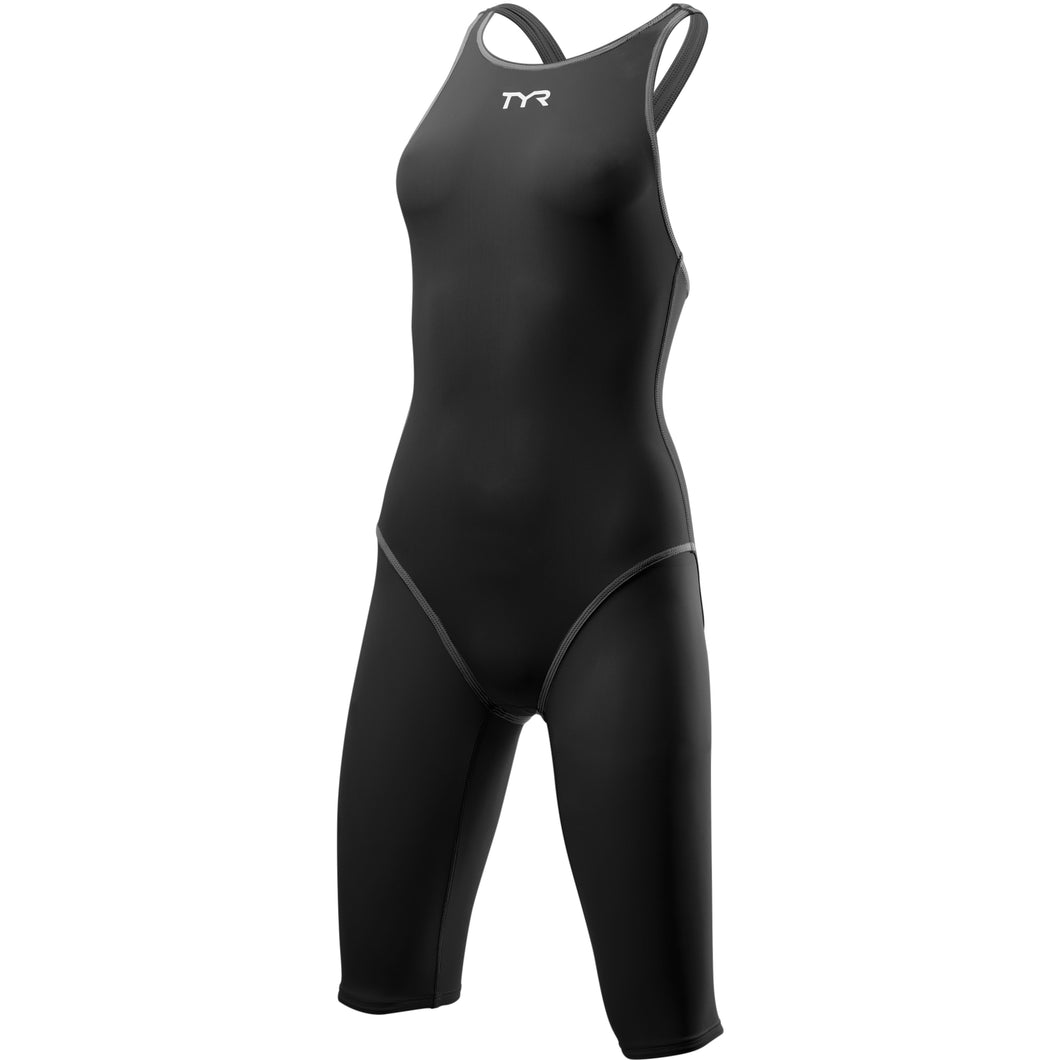 TYR WOMEN'S BLACK/GREY THRESHER OPEN BACK SWIMSUIT