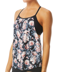 TYR WOMEN'S BLACK/CORAL PADMA SHEA 2 in 1 TANK