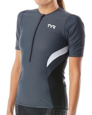 TYR WOMEN'S WHITE/GREY COMPETITOR SS TOP