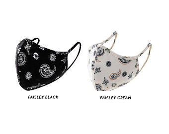 BLACK AND CREAM PAISLEY COTTON FACE MASK
