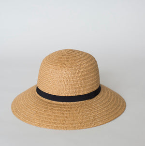 SO SHADY RIBBON HAT NATURAL W BLACK