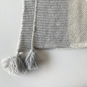 GREY KNIT LAMBSWOOL THROW
