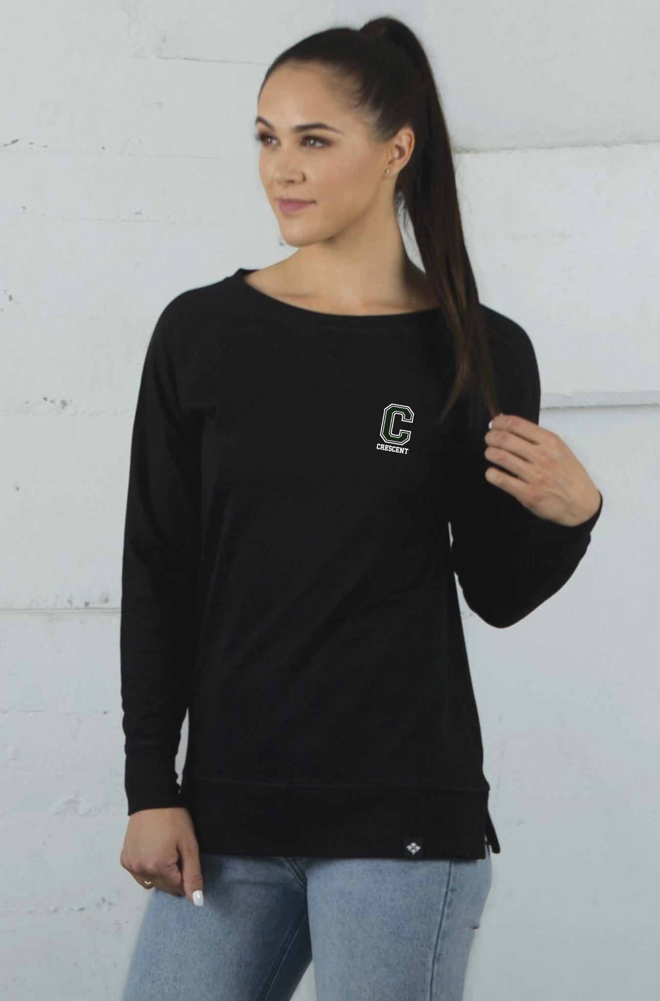 Women's Staff Open Neck Crew Fleece