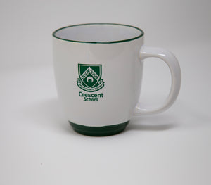 White Mug with Green Rim