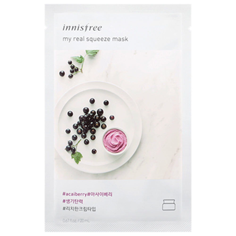[Innisfree] My Real Squeeze Mask EX Acai Berry (10 pack)