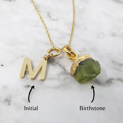 Personalised Initial & Birthstone Necklace