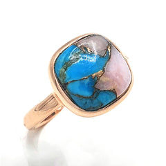 Opal & Copper Turquoise Rose Gold Ring
