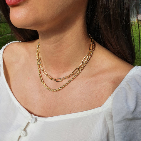18k Gold Paperclip Necklace & Hawser Chain