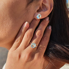 Sky Blue Topaz Earrings & Ring
