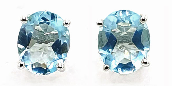 Sky Blue Topaz Sterling Silver Earrings - November Birthstone Earrings