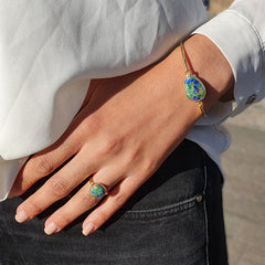 Azurite ring and azurite bracelet - May birthstone jewellery