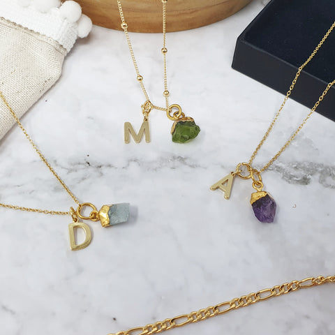 Gold Initial & Birthstone Necklaces