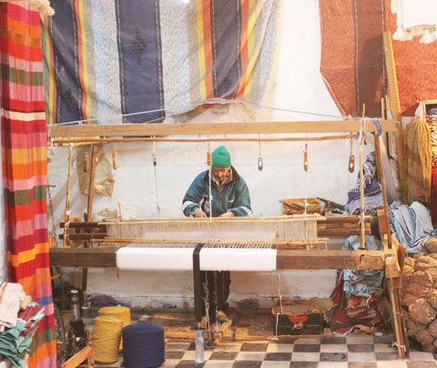 Wooden Looms Berber Rug Maker Artisan At Work Morocco
