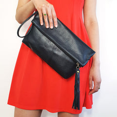 Black Leather Clutch Bag | Foldover Purse