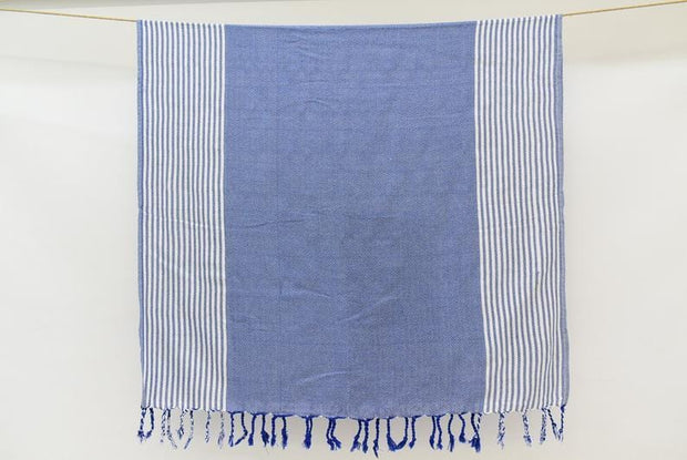 Ela Hammam Towel Blue & White