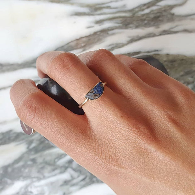 Gold vermeil half moon copper lapis lazuli ring. September birthstone ring.