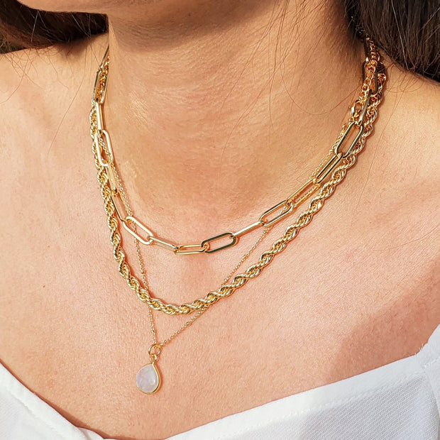 "18k Gold Vermeil, 1mm wide, 16""-18"" adjustable, fine beaded chain."