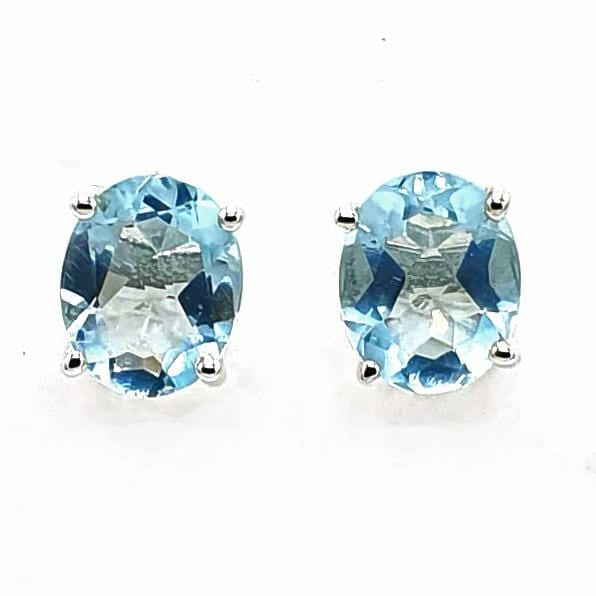 Sky Blue Topaz Sterling Silver Oval Prong Set Earrings - November Birthstone Earrings