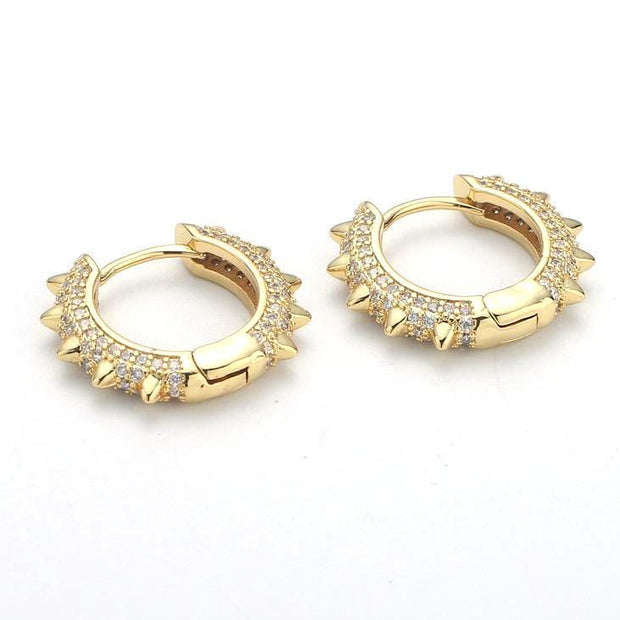 18k Gold Coco Luxe Spike Pave Huggie Earrings with cubic zirconia stones