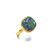 Azurite Gold Plated Sterling Silver Round Gemstone Ring - May Birthstone Ring