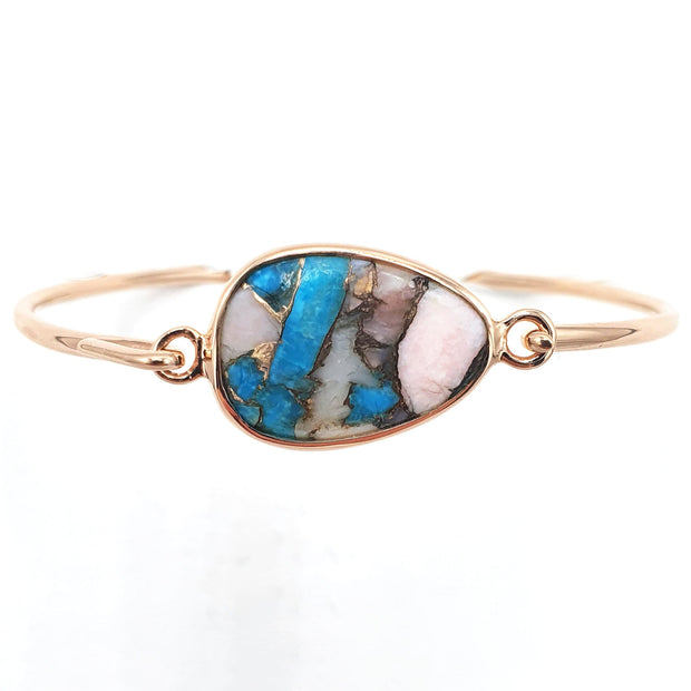 Opal & Copper Turquoise Rose Gold Vermeil Bracelet - October & December Birthstone Bracelet