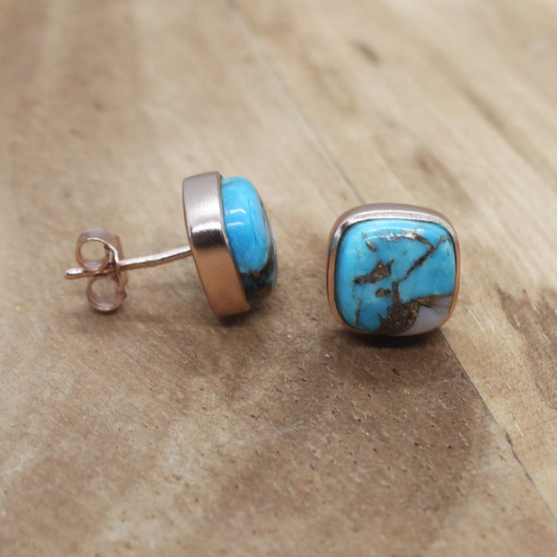 Rose Gold Vermeil Opal & Turquoise earrings - October Birthstone Earrings