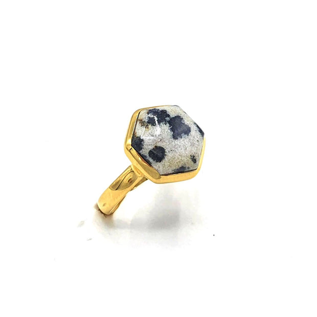 Dalmatian Jasper Hexagon Gold Plated Gemstone Ring. March Birthstone ring.