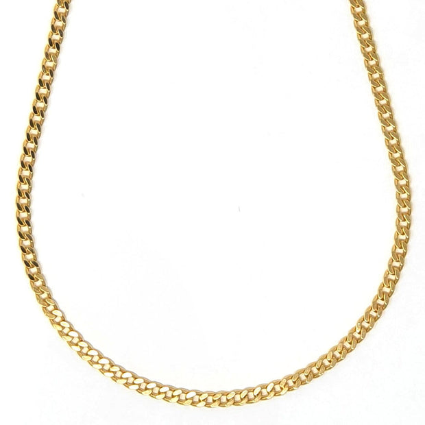 "18k gold filled, 4mm wide cuban chain adjustable from 16"" to 19"""