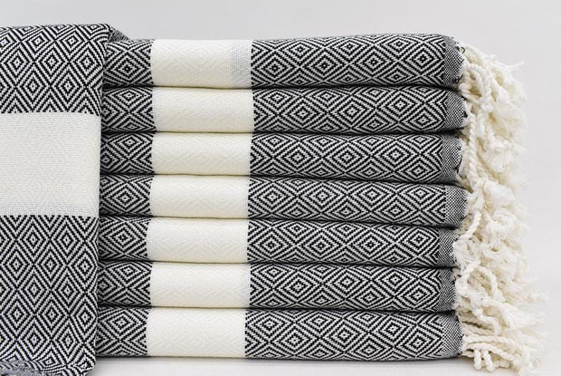 Black & White Hammam towel