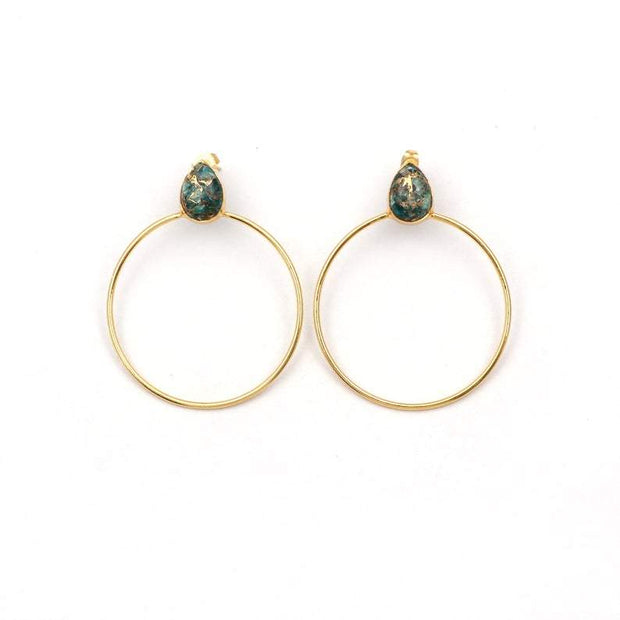 Dark Green Copper Turqoise earrings