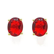 Garnet Gold Vermeil Prong Set Oval Earrings - January Birthstone Earrings