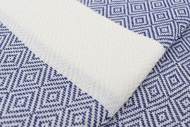 Dark Blue Organic Cotton Turkish Travel Towel