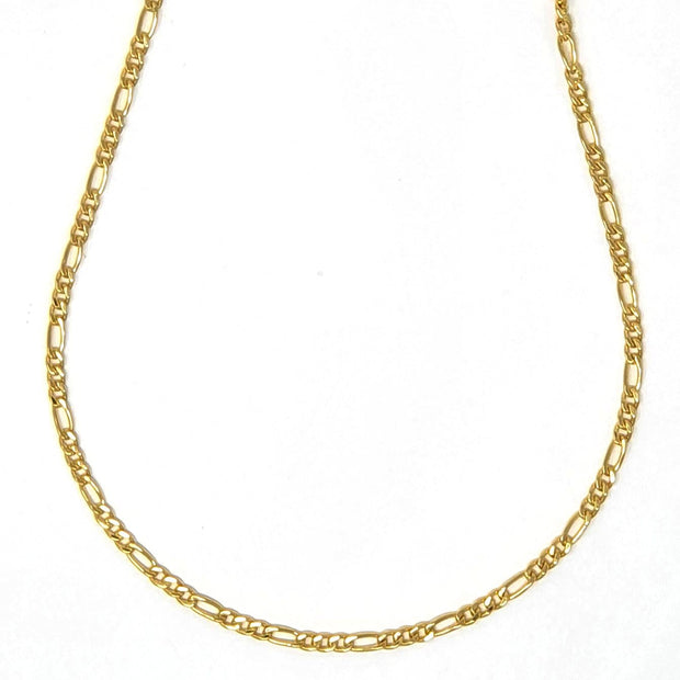 "18k gold filled, 2mm wide figaro chain adjustable from 16"" to 18"""