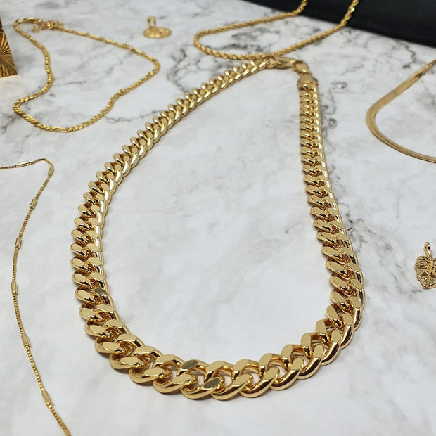 "18k gold filled, 9mm wide, 18"" long cuban chain"