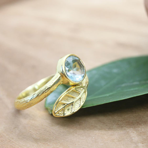 Swiss blue topaz gemstone ring. December birthstone ring.