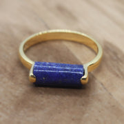 Gold Plated lapis lazuli ring. September birthstone ring.