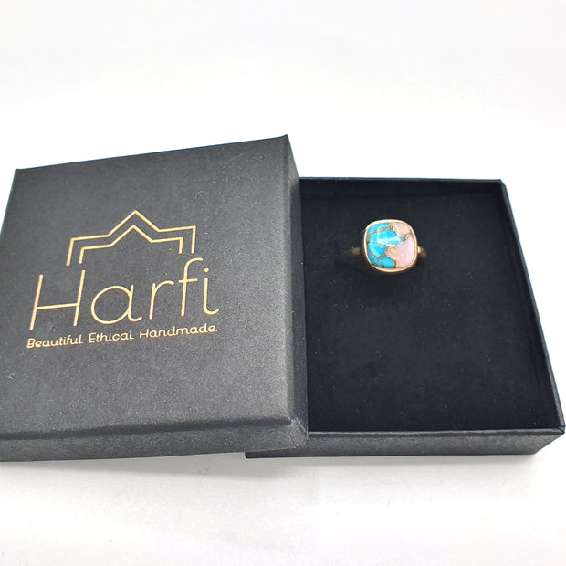 Opal & Copper Turquoise Rose Gold Vermeil Sterling Silver Round Ring - October & December Birthstone Ring