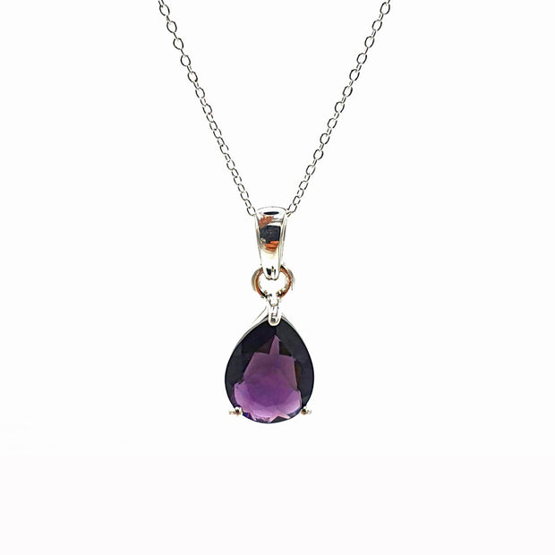 Sterling Silver Amethyst Necklace - February Birthsone Necklace