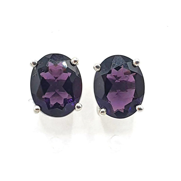 Amethyst gemstone sterling silver Oval Prong Set earrings - February Birthstone Earrings