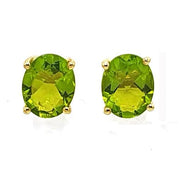Gold Vermeil Peridot Gemstone Oval Prong Set Earrings - August Birthstone Earrings