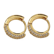Coco 18k Gold Luxe Pave Huggie Earrings with cubic zirconia stones
