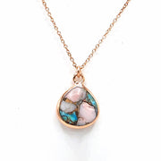 Opal & Copper Turquoise Rose Gold Vermeil Necklace - October And December Birthstone Necklace